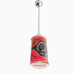 French Red Hand-Painted Glass Ceiling Lamp, 1950s