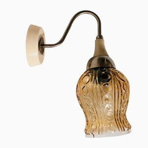 Mid-Century Amber Glass USSR Pug Wall Sconce Lamps, 1960s, Set of 2