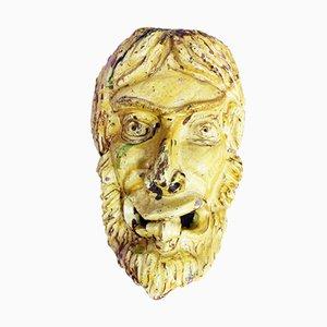 Cabeza de fauno Mid-Century de cerámica