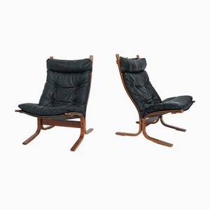 Black Leather Model Siesta High Back Armchairs by Ingmar Relling for Westnofa, 1960s, Set of 2