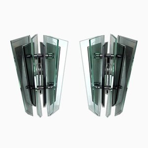 Crystal Sconces from Veca, Italy, 1970s, Set of 2
