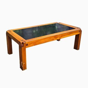 T18 Coffee Table with Lava Stone Top & Elmwood Frame by Pierre Chapo