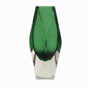 Vintage Italian Green Sommerso Murano Glass Vase, 1970s