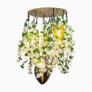 Flower Power Fuchsia Cascade Round Chandelier in Pink-Cream Color with Crystal Egg Lamps from Vgnewtrend, Italy