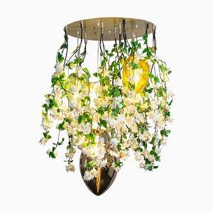 Lámpara de araña Flower Power en cascada fucsia en crema con lámparas de cristal en forma de huevo de Vgnewtrend, Italy