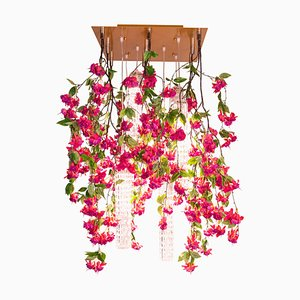 Flower Power Fuchsia Cascade Square Chandelier in Fuchsia Color from Vgnewtrend, Italy