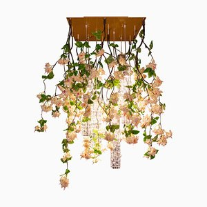 Flower Power Fuchsia Cascade Square Chandelier in Pink-Cream Color from Vgnewtrend, Italy