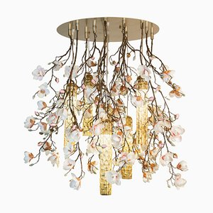 Large Round Flower Power Pink-Cream Magnolia Chandelier with 24k Gold Pipes from Vgnewtrend, Italy