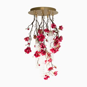 Small Round Flower Power Fuchsia Magnolia Chandelier from Vgnewtrend, Italy