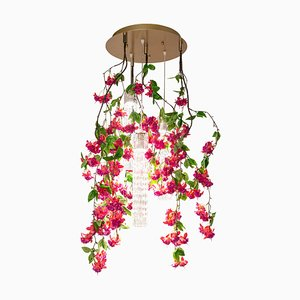 Small Round Flower Power Fuchsia Cascade Chandelier in Fuchsia Color from Vgnewtrend, Italy