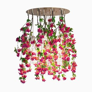 Large Round Flower Power Fuchsia Cascade Chandelier in Fuchsia Color from Vgnewtrend, Italy
