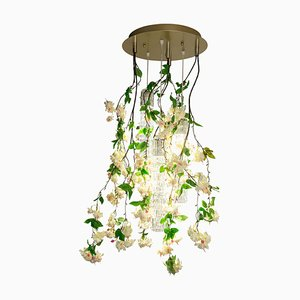 Small Round Flower Power Fuchsia Cascade Chandelier in Pink-Cream Color from Vgnewtrend, Italy