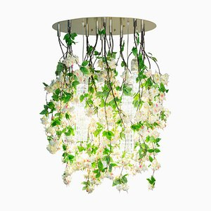 Large Round Flower Power Fuchsia Cascade Chandelier in Pink-Cream Color from Vgnewtrend, Italy