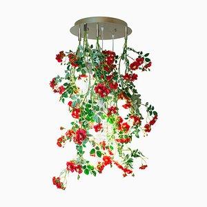 Kleiner runder Flower Power Wild Red Roses Kronleuchter von Vgnewtrend, Italien