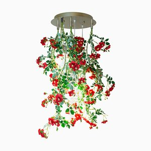 Small Round Flower Power Wild Red Roses Chandelier from Vgnewtrend, Italy