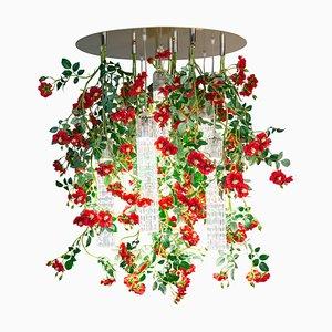 Großer runder Flower Power Wild Red Roses Kronleuchter von Vgnewtrend, Italien