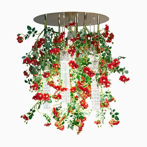 Large Round Flower Power Wild Red Roses Chandelier from Vgnewtrend, Italy