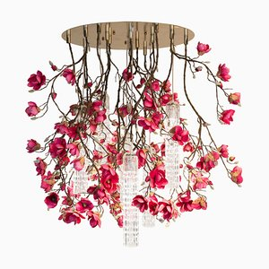 Large Round Flower Power Fuchsia Magnolia Chandelier from Vgnewtrend, Italy