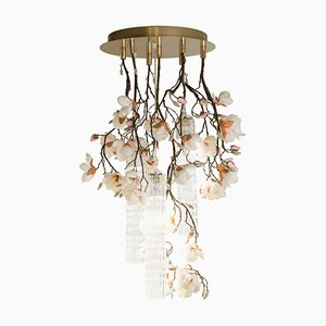 Small Round Flower Power Pink-Cream Magnolia Chandelier from Vgnewtrend, Italy