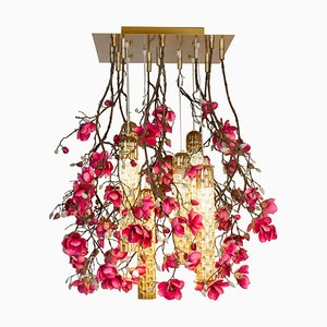 Flower Power Fuchsia Magnolia Chandelier with 24k Gold Pipes from Vgnewtrend, Italy