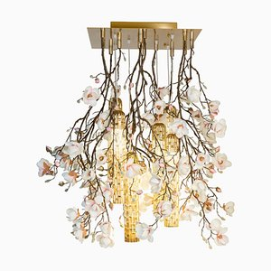 Flower Power Pink-Cream Magnolia Chandelier with 24k Gold Pipes from Vgnewtrend, Italy