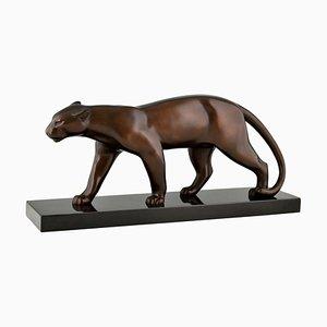 Art Deco Bronzeskulptur eines gehenden Panthers von Bracquemond, 1930