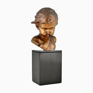Antique Bronze Sculpture Bust of a Cupid by François Duquesnoy, 1900