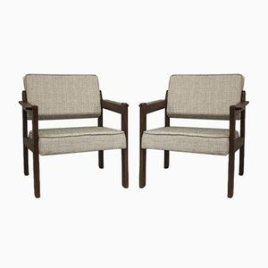 Wooden Armchairs, East Europe, 1970s, Set of 2