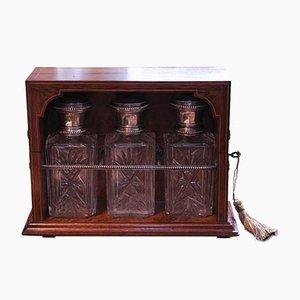 Palisander und Amboyna Intarsie Tantalus Dekanter aus 3-geschliffenem Glas mit kontinentalen silbernen Zierleisten & Deckeln 1800er