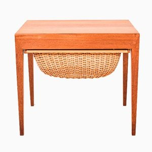 Teak Sewing Table by Severin Hansen for Haslev, 1960s