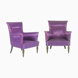 Italian Purple Armchairs, 1950s, Set of 2