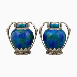 Art Deco Blue Ceramic & Bronze Vases by Paul Milet for Sèvres, 1920, Set of 2