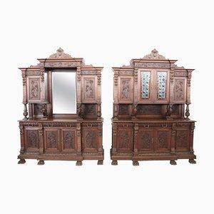 Große antike Renaissance Sideboards aus geschnitztem Nussholz, 2er Set