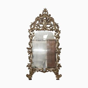 Large Antique Carved & Mecca Wood Wall Mirror, 1850s