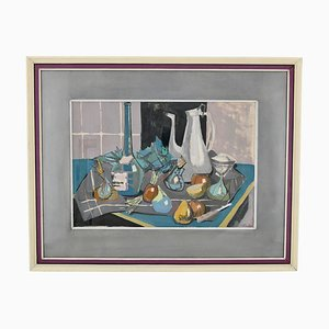 Mid-Century Painting, Still Life with Coffee Pot, Bottle and Fruit on a Table, Poulain, 1950