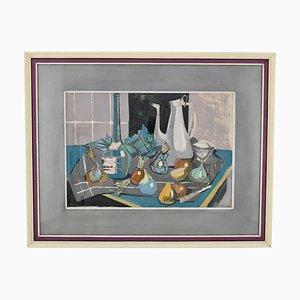 Pintura Mid-Century, naturaleza muerta con cafetera, botella y fruta sobre una mesa, Poulain, 1950