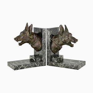 Sujetalibros Art Déco de bronce con perros de pastor de Varnier, 1925. Juego de 2