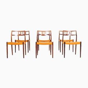 Palisander Esszimmerstühle von Niels Moller, 6er Set