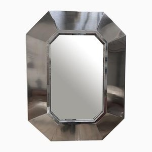 French Stainless Steel Mirror by Maison Jansen, 1970s