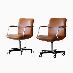 Tan Leather Desk Chair, 1970s