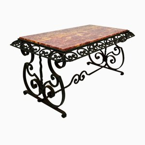 Art Deco Wrought Iron Coffee Table with Marble Top, 1940s