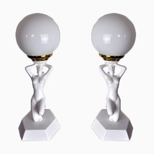 Nude Woman Ball Lamps by Onices Eth, 1980s, Set of 2