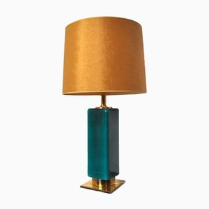 Green Opaline Lamp from Metalarte, Spain, 1970s