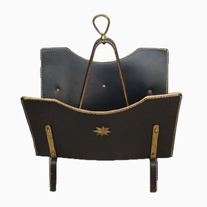 Vintage Metal and Black Leather Magazine Rack by Jacques Adnet, 1950