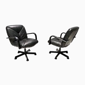 Vintage Black Leather Office Chair from ICF De Padova