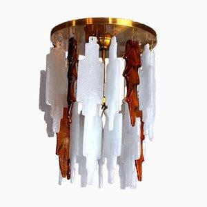 Bicolore Deckenlampe aus Muranoglas von Albano Poli für Poliarte, Italien, 1970er