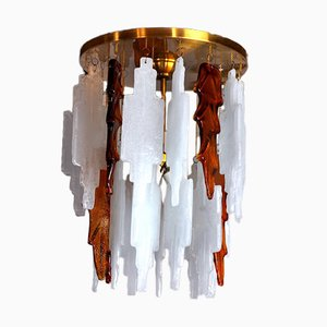 Bicolore Murano Glass Ceiling Lamp by Albano Poli for Poliarte, Italy, 1970s