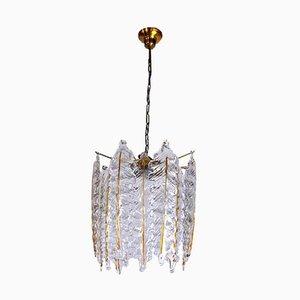 Lámpara de araña italiana con hojas de cristal de Murano de Mazzega, años 70