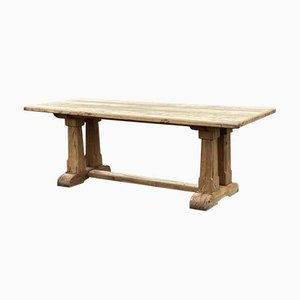 French Rustic Bleached Oak Farmhouse Dining Table