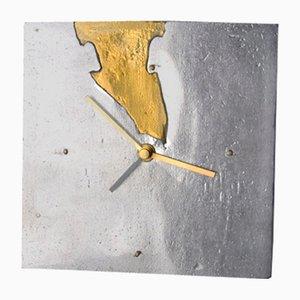Brutalist Clock in Brass & Aluminium by Art3, Spain, 1970